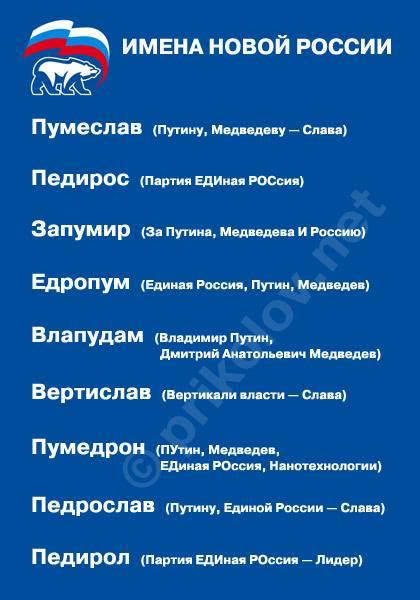 Вообще-то новые имена для новой русской генерации уже давно придуманы:
