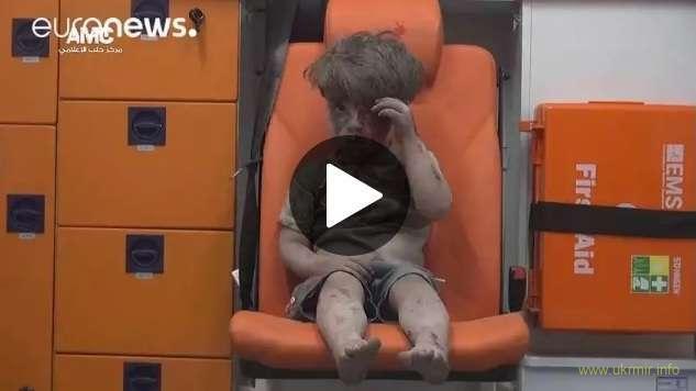 Shocking scenes of child injured in Aleppo airstrike