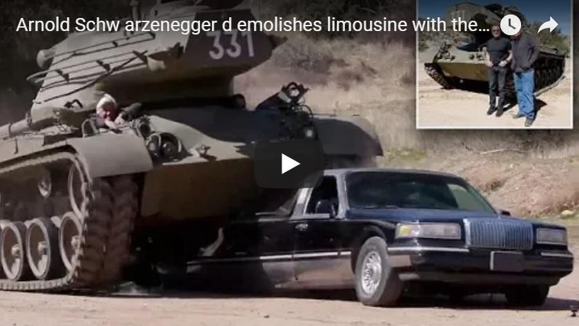 Арнольд Шварценеггер танком уничтожил лимузин