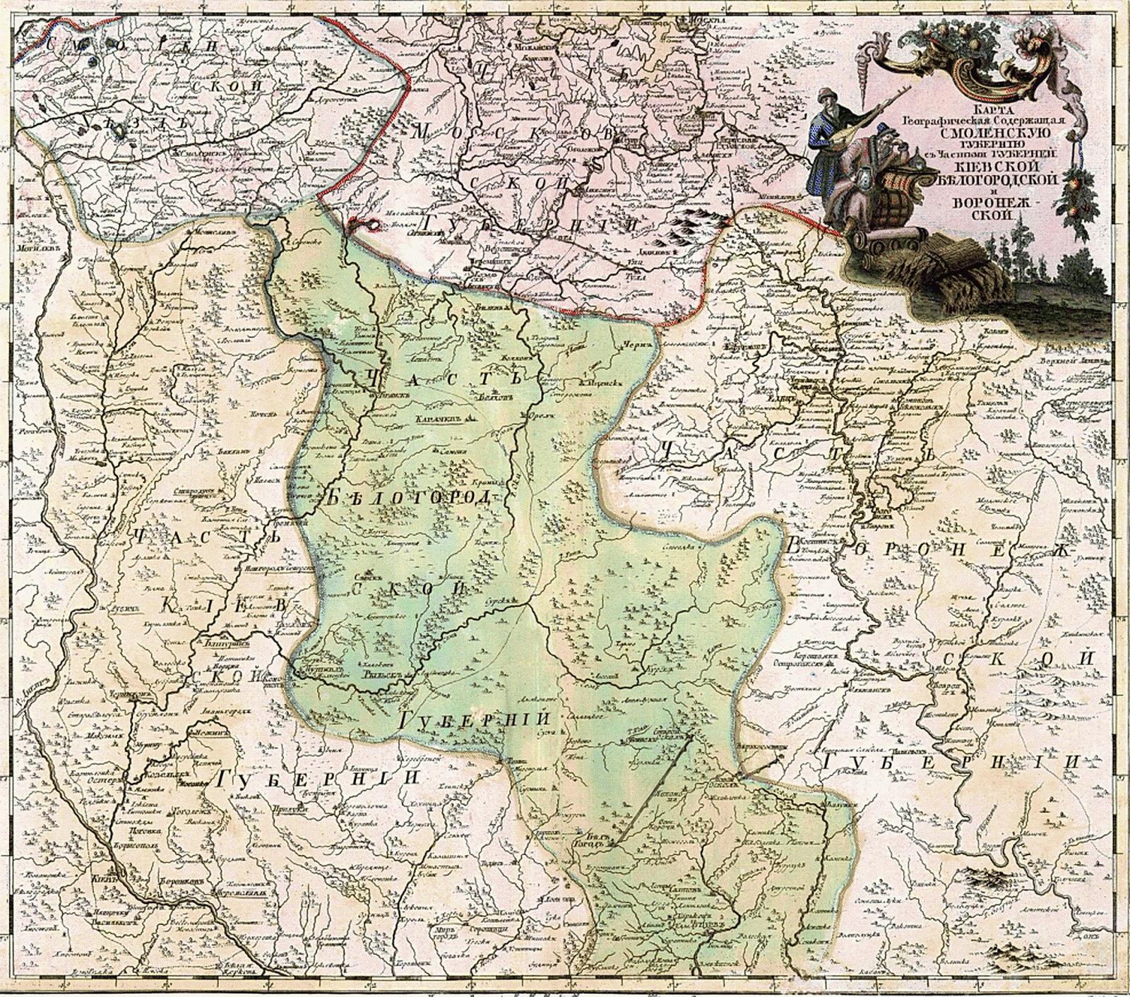 Размеры Киевской губернии и Украинской Слободы в начале 18 века.